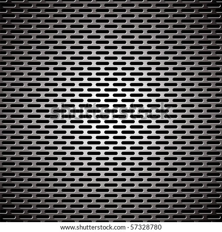 Silver metal background with elongated grill slots and light reflection - stock vector
