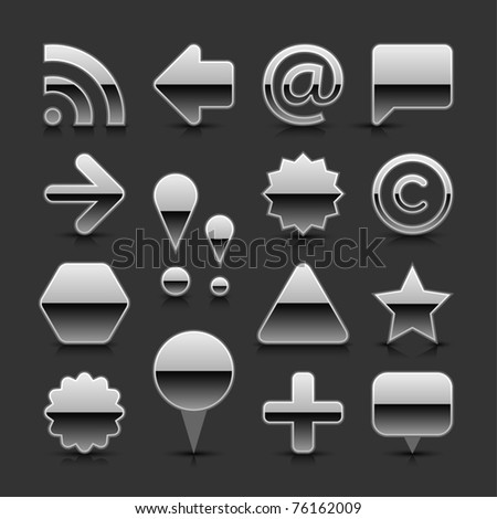 Silver metal blank web button set with black reflection and shadow on gray background - stock vector