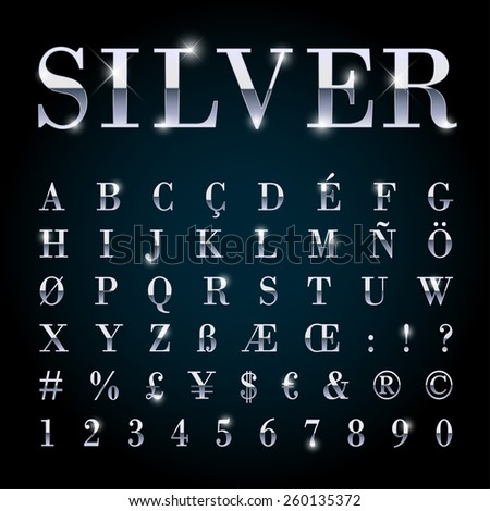 Silver metal font with letters, numbers, currency symbols. - stock vector