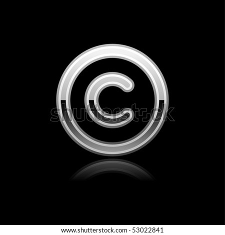 Silver metal glossy copyright web button with reflection on black - stock vector