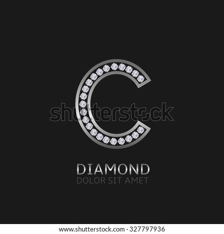 Silver metal letter C logo with diamonds. Luxury, royal, wealth, glamour symbol. Vector illustration - stock vector