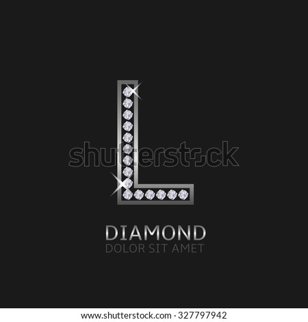 Silver metal letter L logo with diamonds. Luxury, royal, wealth, glamour symbol. Vector illustration - stock vector