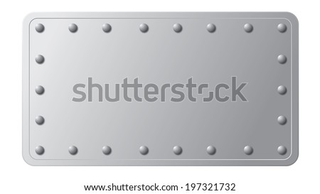 silver metal plate with rivets on its edge - stock vector