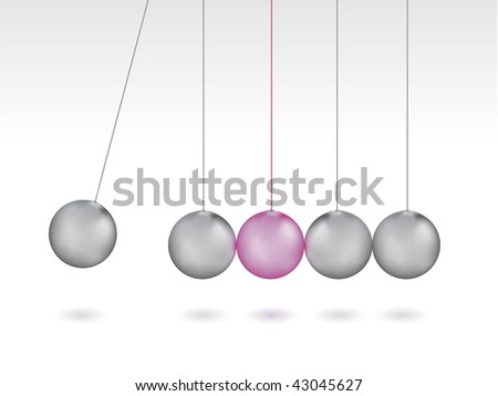 Silver metalic Newton's Cradle - stock vector