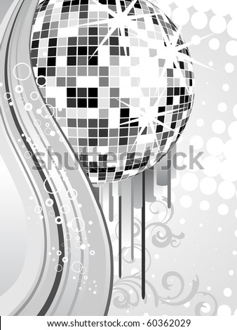 silver mirror ball - vector