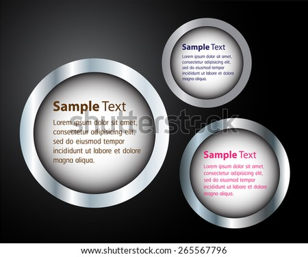 silver modern circle text box template for website computer graphic and internet, black .black background.