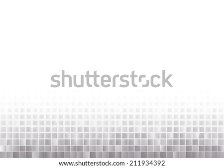 silver mosaic squares gradually fading - stock vector