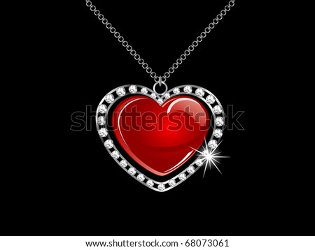 Silver necklace with red heart - stock vector