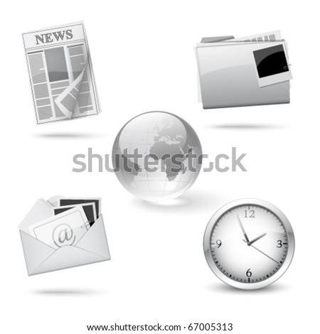 Silver office icons, set - stock vector