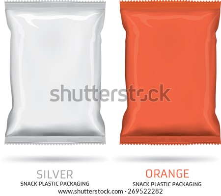 Silver ,orange snack plastic packaging isolated on white background  - stock vector