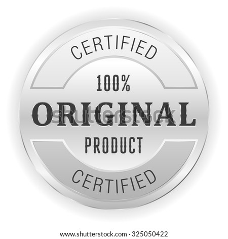 Silver original product button on white background - stock vector