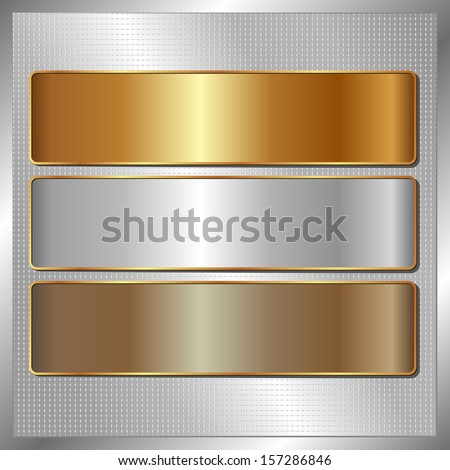silver panel with three metallic banners - stock vector