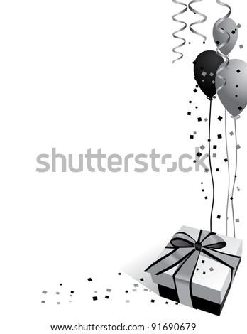 Silver Party Background A wrapped gift, balloons, streamers and confetti in tones of black and silver. EPS 8 vector, grouped for easy editing. No open shapes or paths. - stock vector