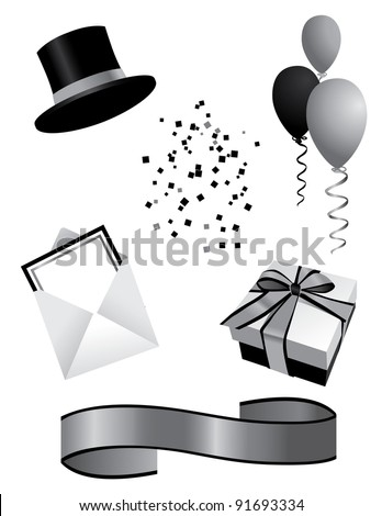 Silver Party Elements EPS 8 grouped for easy editing. - stock vector