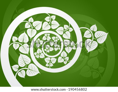 Silver patterned curve branch with leaf on a green background