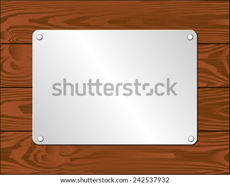 silver plaque on dark wooden planks - stock vector