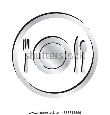 Silver Plate Setting Icon with Silverware Including Fork Knife and Spoon