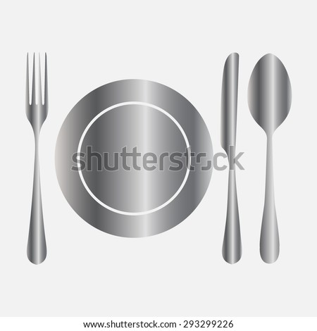 Silver plate with spoon, knife and fork