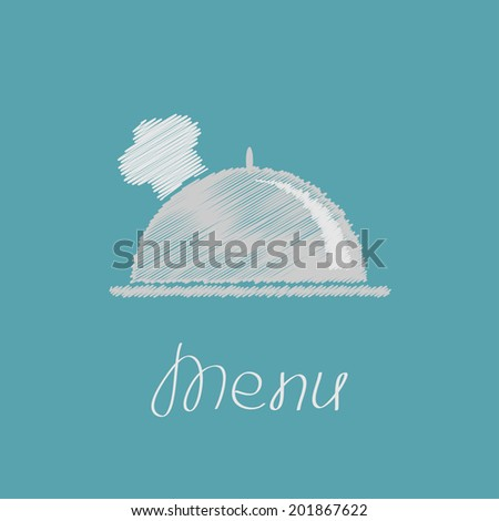 Silver platter cloche and chefs hat. Scribble effect. Vector illustration - stock vector