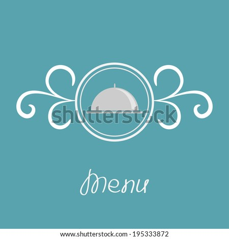 Silver platter cloche and round frame with calligraphic design element. Vector illustration - stock vector