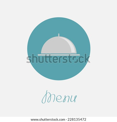 Silver platter cloche circle icon. Flat design. Menu cover. Flat design Vector illustration - stock vector