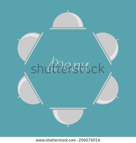 Silver platter cloche round frame. Flat design. Menu cover. Vector illustration - stock vector