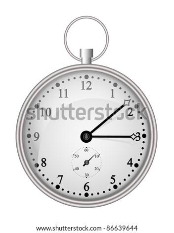 Silver pocket clock - stock vector