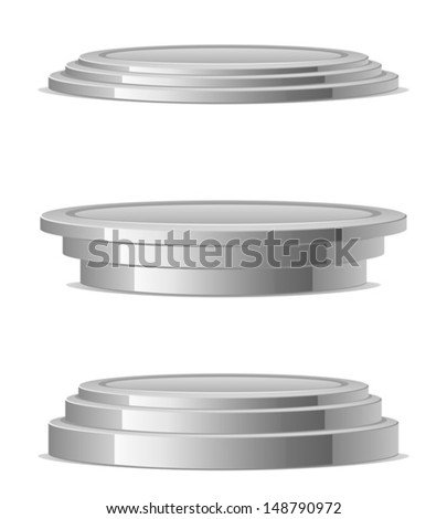 Silver podium - stock vector