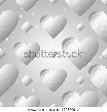 Silver polygonal shape: rhombus and heart on white silver sparkle background. Metal polygonal seamless pattern in hipster triangle low poly style. Silver background for vip, gift website techno design