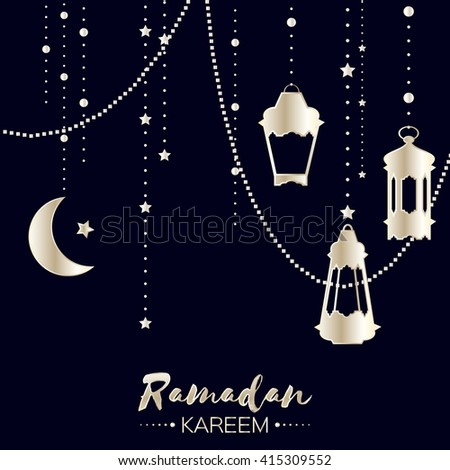 Silver Ramadan Kareem celebration greeting card. Hanging arabic lamps, stars and crescent moon. Holy month of muslim. Symbol of Islam. Moon Ramadan. Vector illustration.