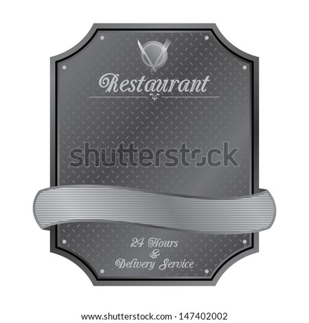 silver restaurant metal plate sign - stock vector
