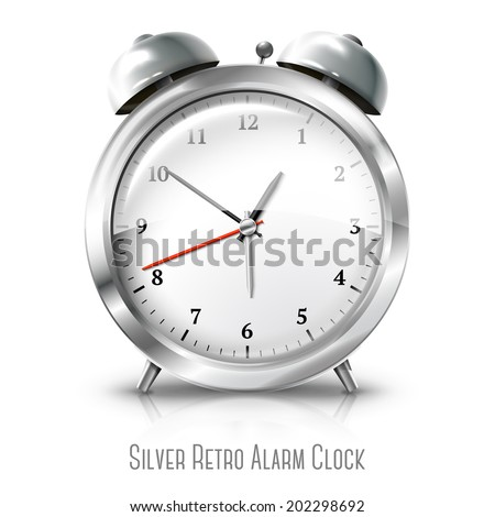Silver retro alarm clock isolated on white background. Vector - stock vector