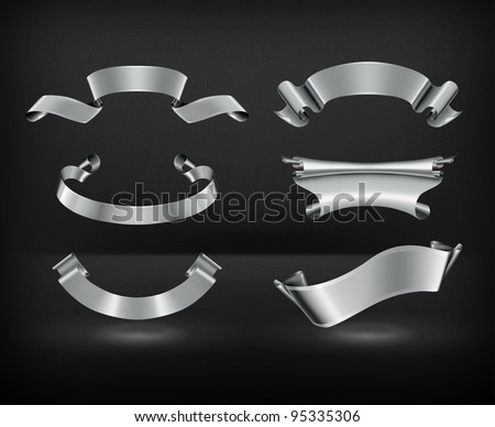 Silver Ribbons, vector - stock vector