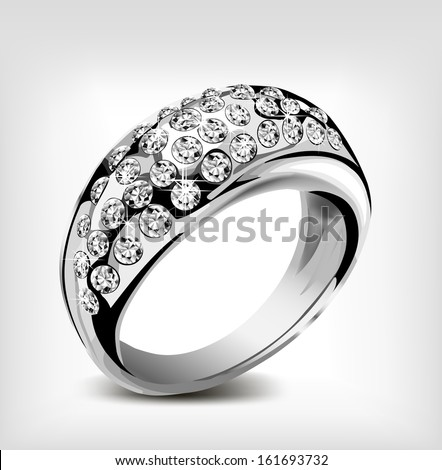 Silver ring with some diamonds. Vector illustration - stock vector