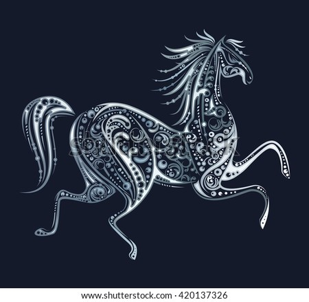 Silver running horse made by floral elements on dark background. Template design for icon, emblem, print or mascot. Animal concept. Vintage style. Vector illustration.  - stock vector