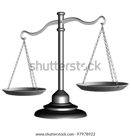 silver scale of justice against white background, abstract vector art illustration