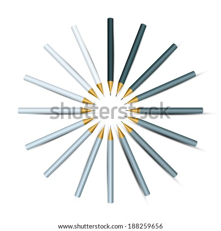 Silver Shades Colored Pencils in Circle.  - stock vector