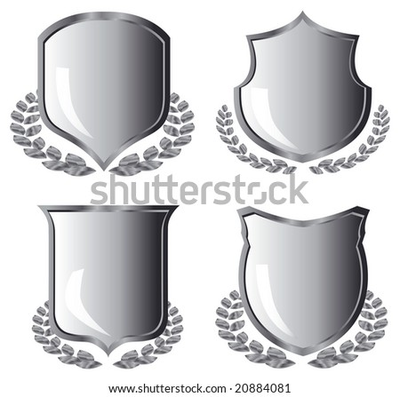 silver shields with laurel wreath on white background - stock vector
