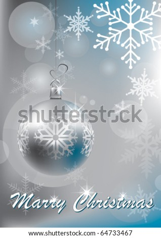 silver shiny christmas balls - stock vector