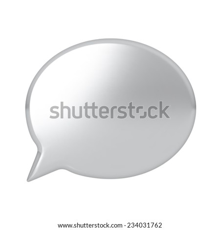 Silver speach bubble. Highly detailed vector illustration. - stock vector