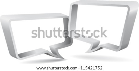 Silver speaking labels - stock vector