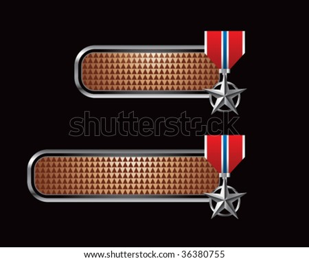 silver star medal on brown checkered tabs - stock vector