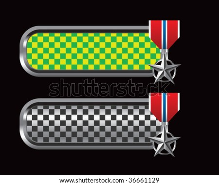 silver star medal on green and black checkered tabs - stock vector