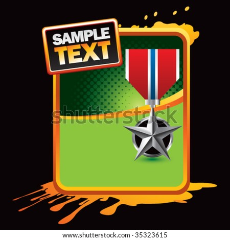 silver star medal on orange splat banner - stock vector