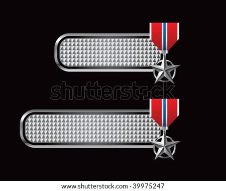 silver star medal on silver checkered tabs - stock vector
