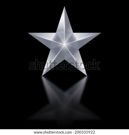 Silver star of five points on black background. - stock vector