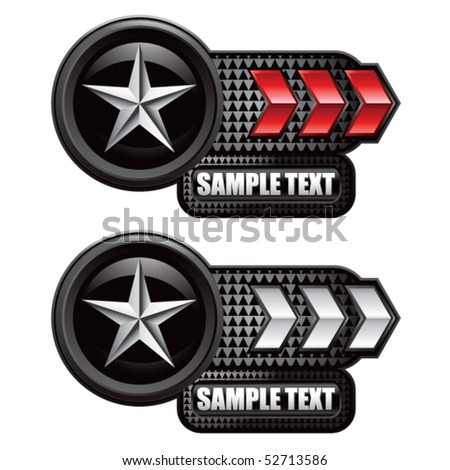 silver star on red and white arrow nameplates - stock vector
