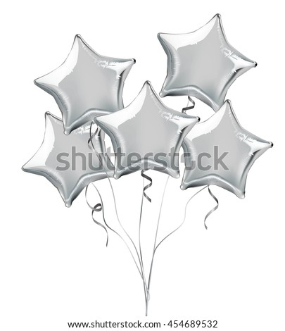 Silver star shaped foil helium balloons. Detailed and realistic Vector illustration - stock vector