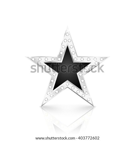 Silver star with diamonds on white background. Vector Illustration - stock vector