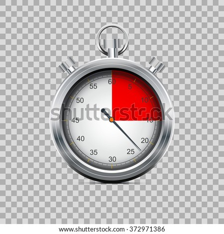 Silver stopwatch on transparent background
